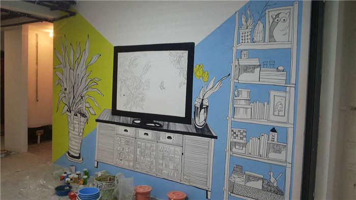电视背景墙,电视背景墙彩绘,电视背景墙彩绘公司