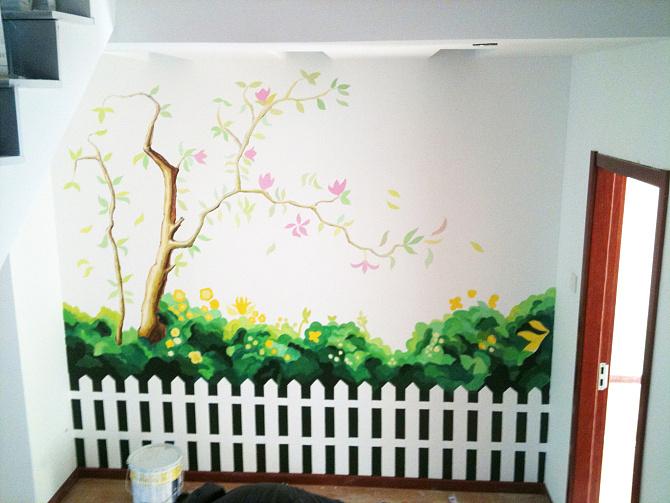 幼儿园墙绘,喷绘墙体,画画